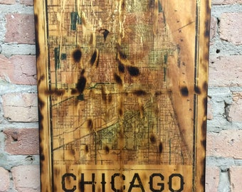 Vintage Map of Chicago Rustic Wall Art