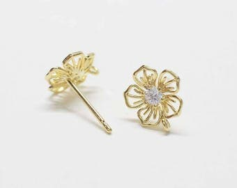 E0186/Anti-Tarnished Gold Plating Over Brass+ Cubic Zirconia/Flower Stud Earrings/8x10mm/2pcs