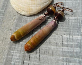 ethnic tribal  earrings organic primitive earrings  sea urchin tibetan agate  organic earthy earrings