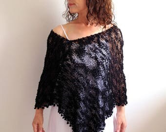 Black summer poncho, beach cover up, loose knit poncho, black capelet, cotton poncho, gift for her, fast shipping, READY TO SHİP