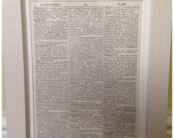 White Wood Picture Frame With White Mount To Fit My Vintage Dictionary Prints