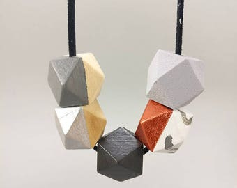 Concrete necklace - Copper, Silver Gray & Marble | Statement Necklace | Gift for her | Geometric Jewellery | Beaded necklace | Concrete