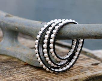 Three Wrap Swarovski Pearl Bracelet