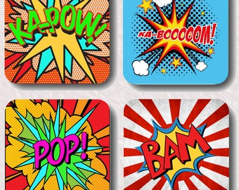 Pop art coasters, fun,gift,present,art,