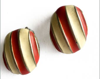 80's Red and Cream Enamel Clip Ons