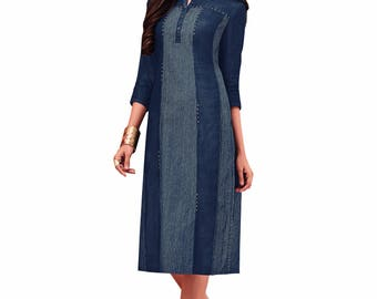 Indian Pakistan Bollywood Designer Kurti Designer Women Ethnic Dark Blue Colored Madal Kurti Top Tunic Kurta women kurti top
