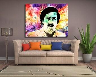 Pablo Escobar Money Abstract Framed Canvas Wall Art Decor For Home, Office or Dorm Pablo Escobar Pop Art Infamous Medellín Cartel Boss