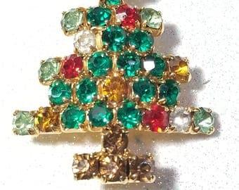 Vintage Multi Color Rhinestone Christmas tree Pin Brooch Goldtone