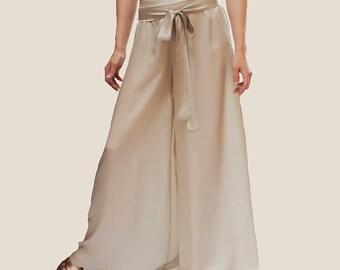 Palazzo pants, silk pants, summer pants, tall women pants, high waisted pants, wide leg pants, flare pants, summer palazzo, silk palazzo