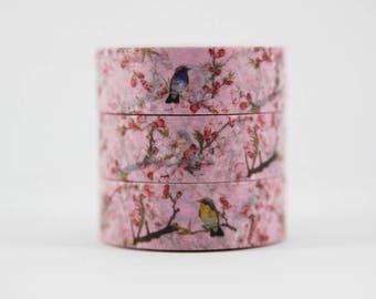 Washi tape pink cherry blossom bird branch masking tape