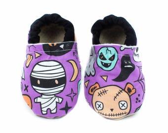 Halloween Mash, baby shoes, vegan, baby moccs, crib shoes, baby booties, baby, shoes, style, babies, soft soled shoes, halloween baby shoes