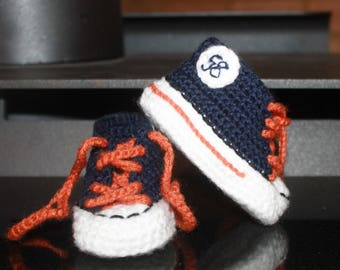 Crochet Baby SHOES, Baby Football shoes, Denver BRONCOS inspired converse shoes (Handmade by me and not affiliated with the NFL)