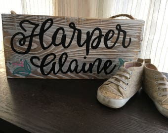 "CUSTOM Baby/Girls Name Wooden Sign 12"" x 5.5"""