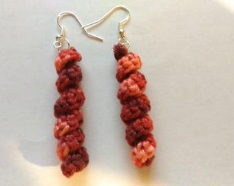 crochet earrings original cotton red shades