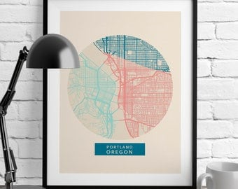 Portland Oregon - Portland Map - Map Prints - Romantic Wall Art - US Map Decor - City Maps - Home Decor - Art Prints - Minimalist Poster