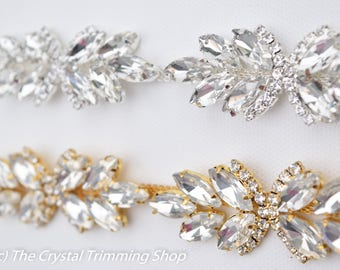 Crystal Rhinestone Trim by the Yard - Wholesale Bridal Trim - Thin Crystal Trim - Rhinestone Applique [Style TR50]