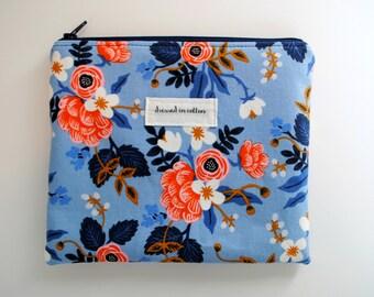 Floral Blue Zipper Bag, Les Fleurs Make Up Bag, Pink Flowers, Navy Zipper, Navy Blue Lining, Cosmetics Zipper Bag