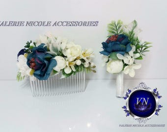 Navy Blue White  Flower comb Wedding boutonniere,Groomsman , Floral comb Wedding flower comb Bridal flower comb Bridal comb Bridesmaid crown