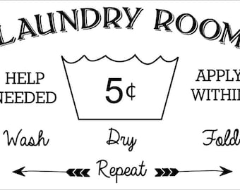 Laundry Room Help Wanted Sign Personalized Laundry  Etsy