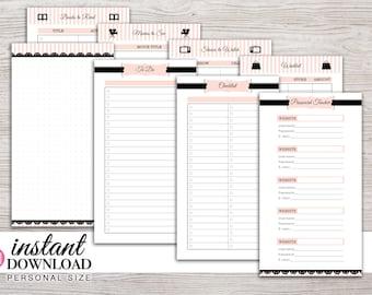 Planner Printable - Notes - To Do - Password Tracker - Lists - Filofax Personal - Kikki K Medium - 3.75x6.75 - Design: Mademoiselle