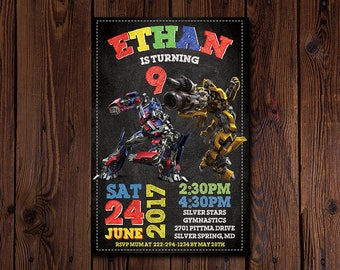 Transformers Invitation , Transformer Birthday Invitation , Transformer Party Invite , Optimus Prime and Bumble Bee , Robot , Autobots