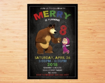 Masha and The Bear Invitations, Masha and The Bear Birthday Invites, Masha and The Bear Printable Party Invitation, Masha and Bear Party