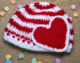 Striped Red & White Hat w/ Large Red Heart - 6-9mo ONLY- Ready to Ship
