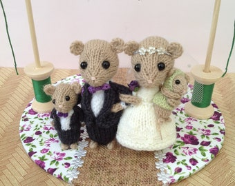 knitted mice wedding cake toppers knitted mice etsy 16653