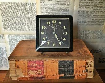 Vintage Alarm Clock, Westclox Alarm Clock, Square Black Face Luminous Dial Alarm, Westclox Spur