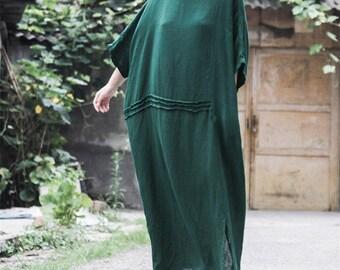 Green linen dress loose tunic dress linen maxi dress long dress beach dress long shift dress oversize dress plus size clothing