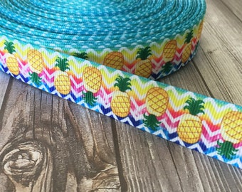Pineapple ribbon - Grosgrain ribbon - Fruit ribbon - Summer ribbon - Tropical fruit - Pineapple bow DIY - Funky ribbon - Pretty ribbon