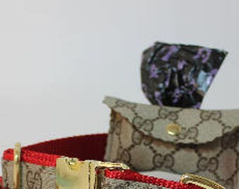 Louis Vuitton or Gucci Dog poo bag holder! Upcycled authentic LV & GucciMonogram Canvas! gold tone hardware!