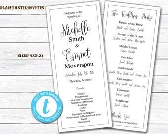 Wedding Program Template, Tea Length Wedding Program, DIY Wedding Program, Silver Wedding, Wedding Program, Template, Ceremony Program, DIY