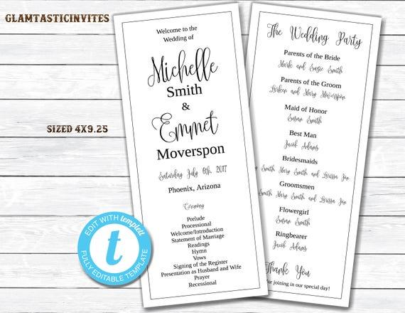 Wedding Program Template, Tea Length Wedding Program, DIY Wedding ...