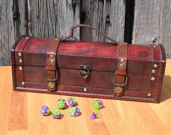 Treasure Dice Chest and Rolling Tray, Dungeons and Dragons, RPG, Tabletop games. Dice Box, Dice Storage, Geek Gift, Rolling Tray, Dice Tray