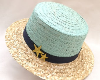 Ibiza blue Boater Hat star