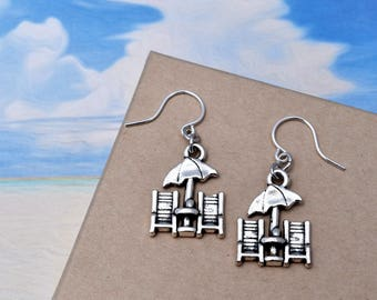 Lounge Chair Earrings, Beach Lover Gift, Ocean Lover Gift, Metal Dangle Earrings, Gift for Her - Handmade Jewelry - Vacation