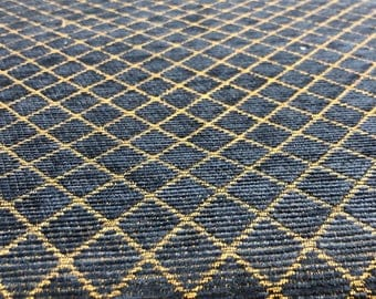Fabricut Reston Navy Gold Diamonds Chenille upholstery Fabric by the yard