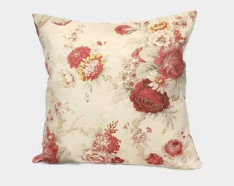 Shabby Chic Pillow, Cottage Pillow, Rose Zippered Throw Pillow Cushion Cover Red Floral French Country Farmhouse Pillow Lumbar Accent Pillow