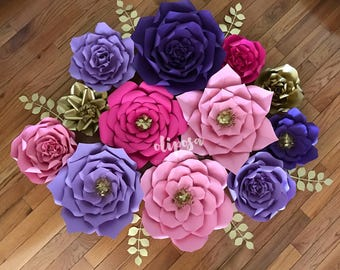 12 pc Paper Flowers, Trolls, Shimmer and Shine, Moroccan Theme, Unicorn
