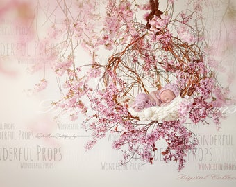 Spring Rosy Dream - Digital Backdrop - Floral Nest Prop for Newborn Photography