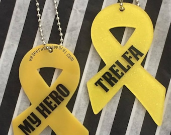 yellow ribbon keychain, support our troops keychain, military keychain