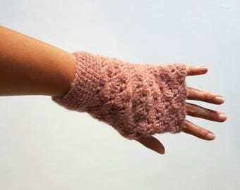 Crochet Fingerless Gloves, Hand Crochet Gloves, Stylish Knit Gloves, Hand Warmers, Winter Gloves - MADE TO ORDER