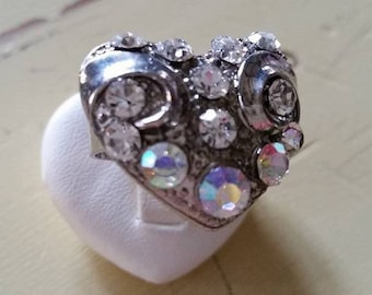 Silver heart Adjustable ring