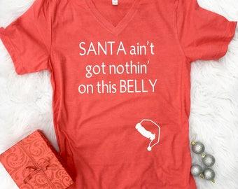 Christmas Shirt, pregnant christmas shirts, christmas pregnancy shirt, mom to be Christmas, maternity Christmas shirt, santa belly, Trending