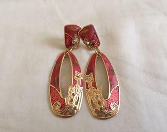 Vintage Berebi Gold Strawberry Red Swirl Dangle Earrings