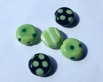 Green/White/Black Kazuri Glass Beads - Fair Trade from Kenya - Pack of 5 Beads Size 15cm approx