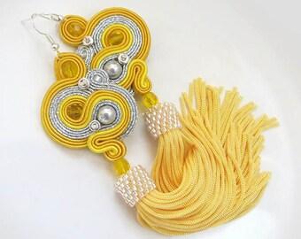 Yellow Tassel Earrings, Long Clip on Earrings, Soutache Earrings, long fringe gift, yellow earrings tassel, boho dangle earrings long tassel