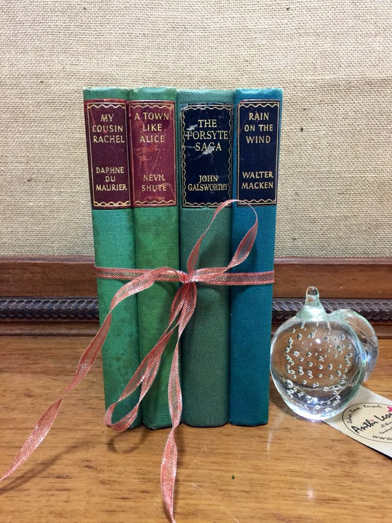 GREEN VINTAGE BOOK stack - Old Books Decoration | Interior Design Shelf Staging | Green Home Decor | Vintage Sourced Books | Rose Gold Decor