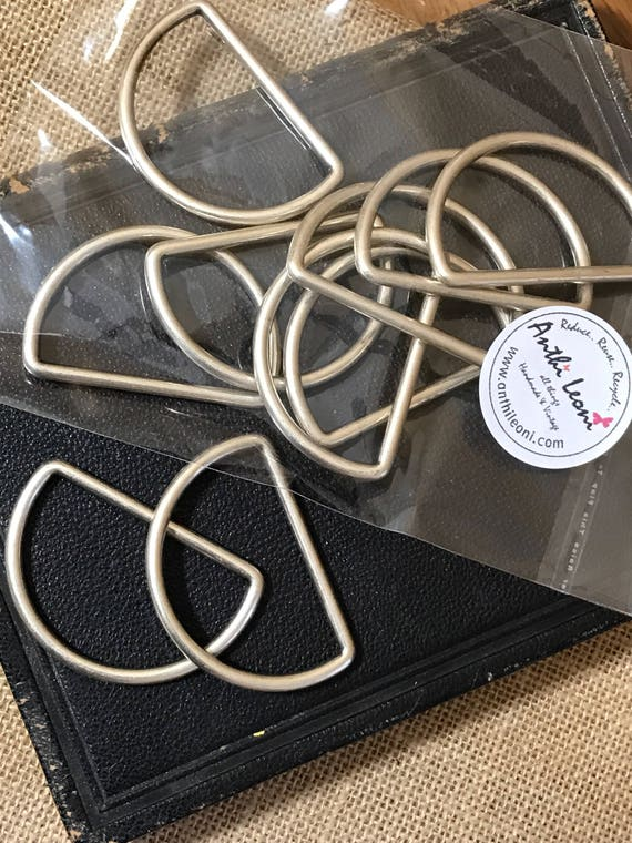 D-RINGS for Bag Making / Brushed Steel D RINGS / Large D-Rings / Bag Making Supplies / Bag Strap Loops / Bag Hooks